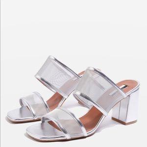 Nettle Mesh Strap Block Heel Sandal